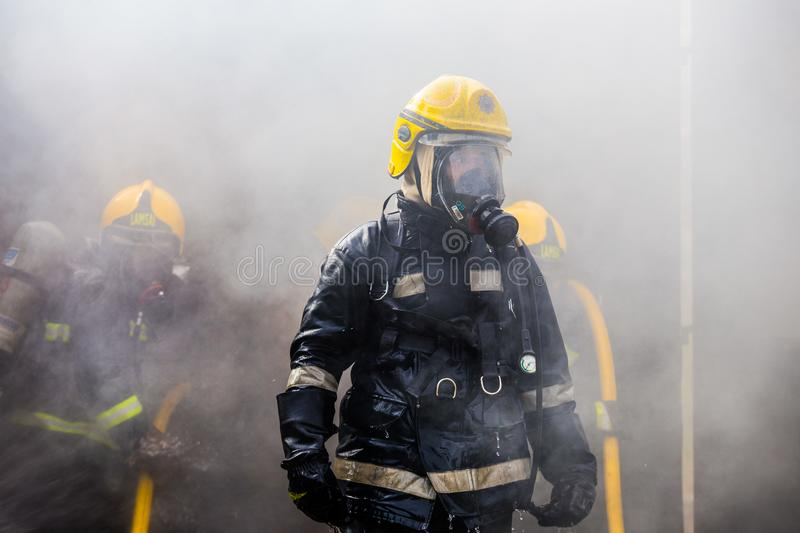 Firefighters training stock images