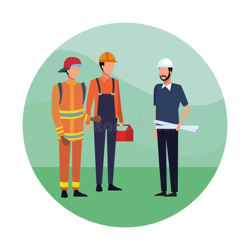 Firefighters and architect. Firefighter with construction worker and architect round icon vector illustration graphic design stock illustration