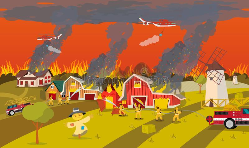 Firefighters Extinguish Farm. Concept Forest Fire. stock illustration