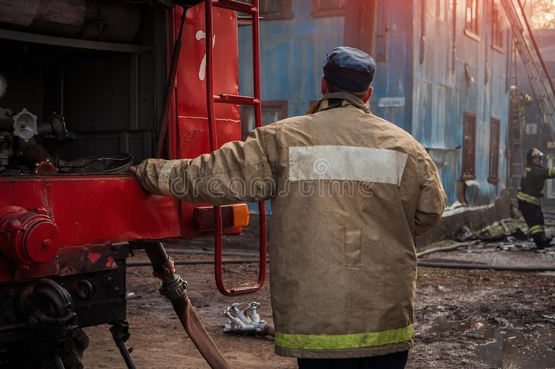 Firefighters extinguish the fire royalty free stock photography