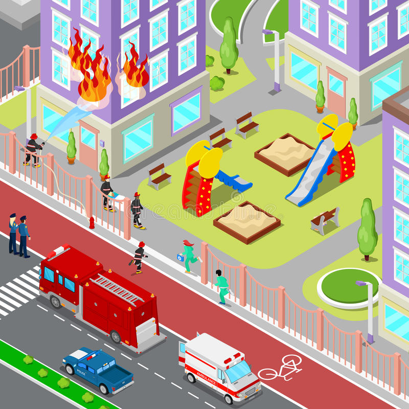 Firefighters Extinguish a Fire in House Isometric City. Fireman Helps Injured Woman. Vector 3d Flat illustration royalty free illustration