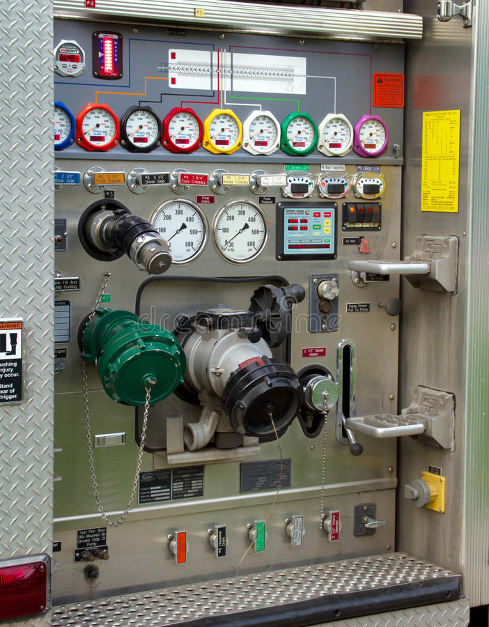 Firefighters Fire Engine Control Panel stock photography