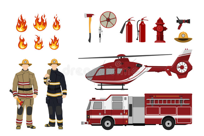 Firefighters and fire fighting equipment on a white background. Helicopter and fireman`s car. Icons of flame and items royalty free illustration