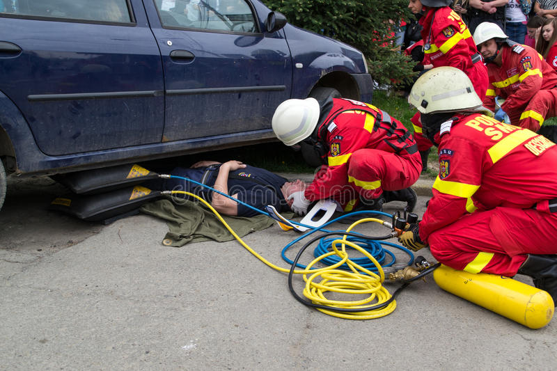 Firefighters Helping Victim Editorial Photo - Image of firefighting ...