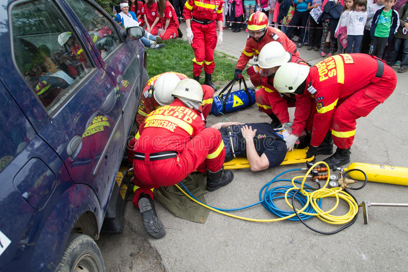 Firefighters Helping Victim Editorial Stock Photo - Image of adult ...