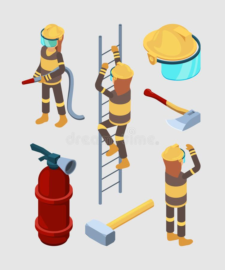 Firefighters isometric. Proffesional equipment of fire station hose boots extinguisher car vector 3d illustrations vector illustration