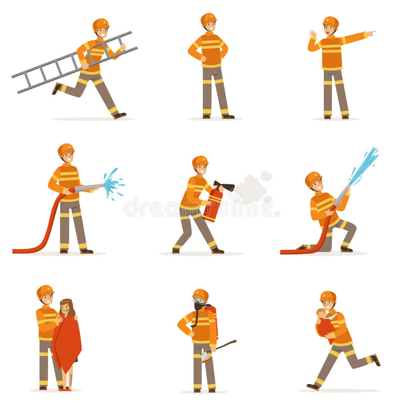 Firefighters in orange uniform doing their job set. Fireman in different situations cartoon vector Illustrations royalty free illustration