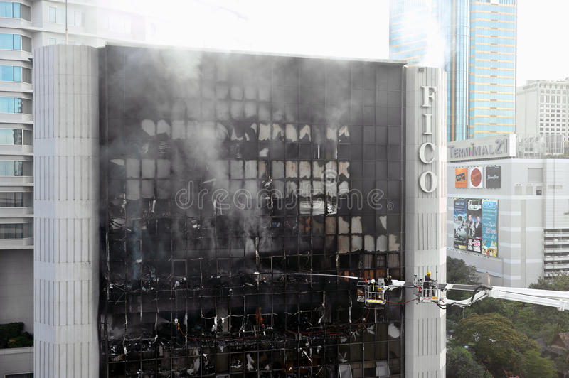 Firefighters Tackle a Blaze in an Office Block