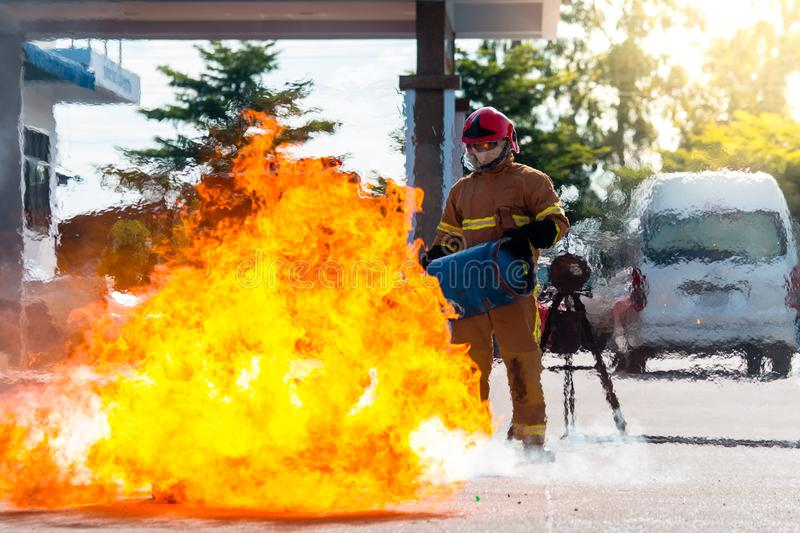Firefighters training in action stock photos