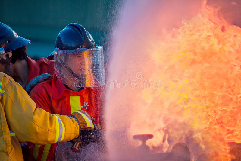 Firefighters training royalty free stock photo