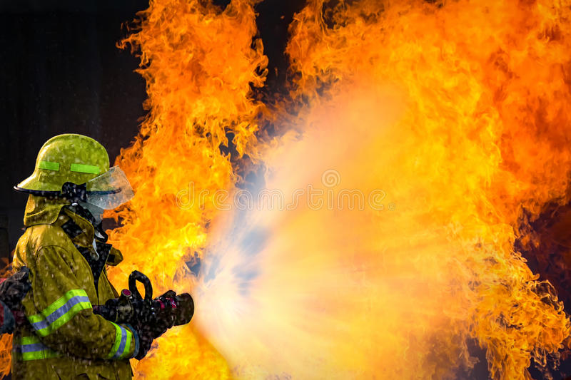 Firefighters training stock photography