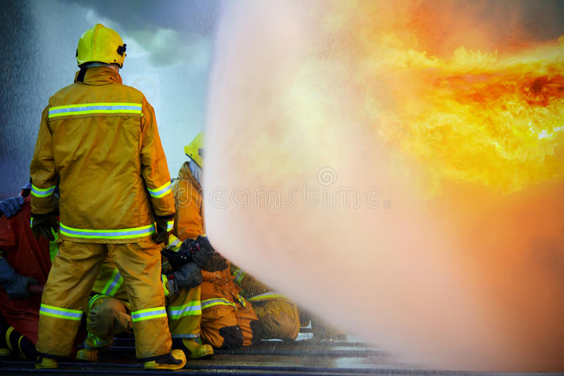 Firefighters training stock photos