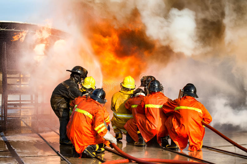 Firefighters training, The Employees Annual training Fire fighting royalty free stock photography