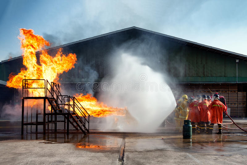 Firefighters training, The Employees Annual training Fire fighting stock images