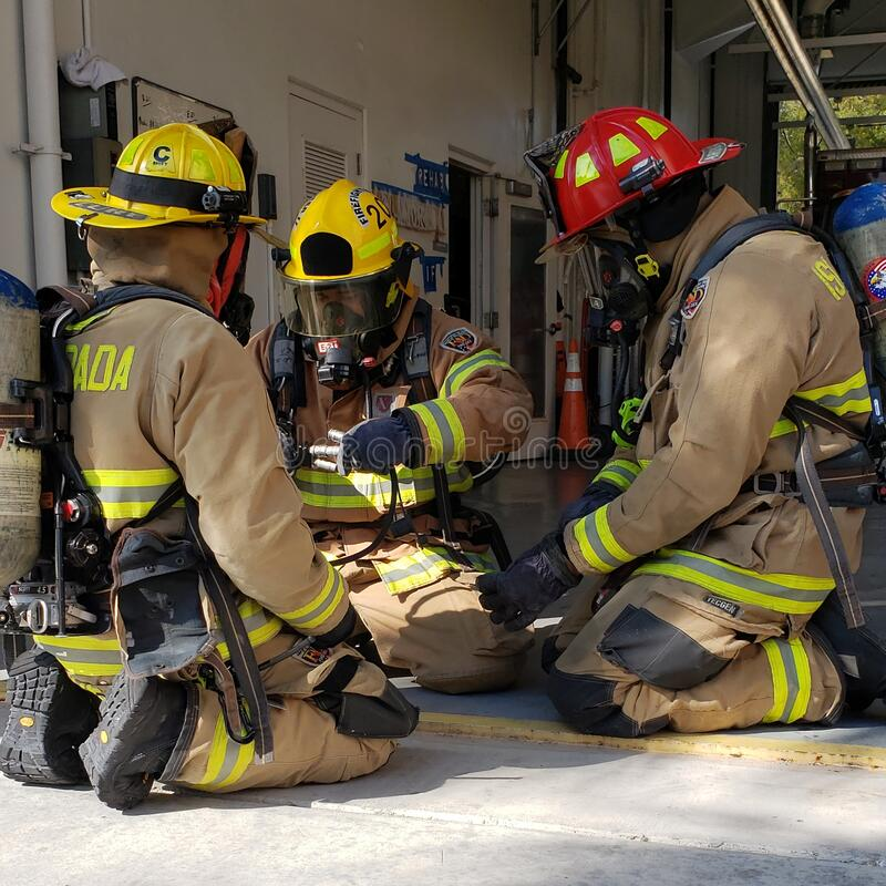 Free Firefighters Training For An Emergency Stock Photos - 216969303