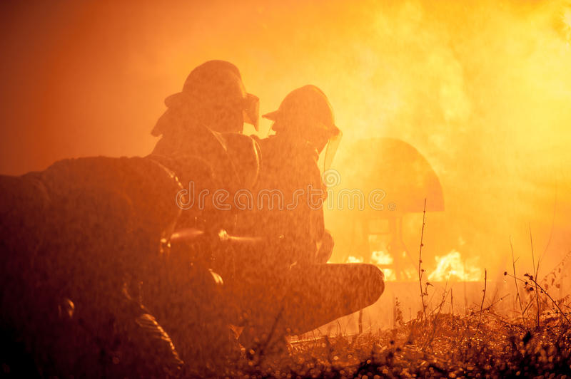 Firefighters training royalty free stock images