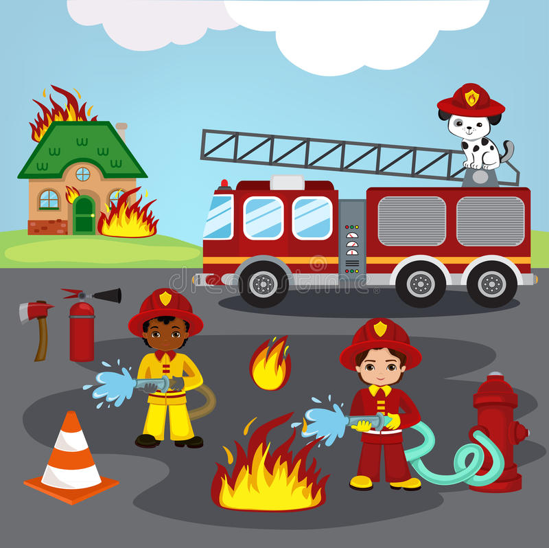 firefighters trying to put out burning house. royalty free illustration