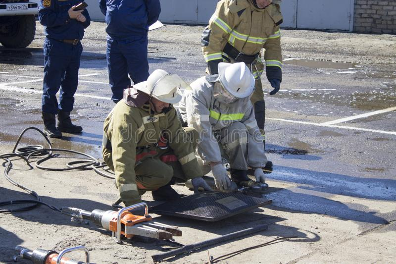 Firefighters at work. royalty free stock photography