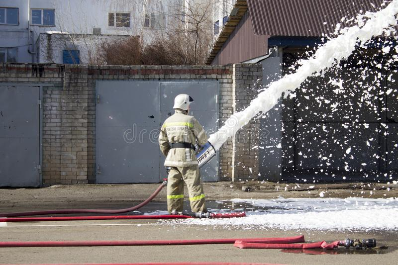 Firefighters at work. stock image