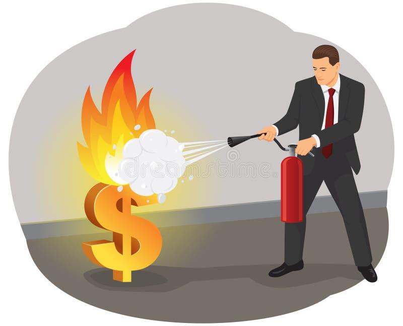 Firefighting горящий доллар иллюстрация вектора