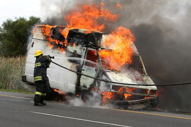 Download Firefighting And Burning Vehicle Stock Photo - Image: 9612030