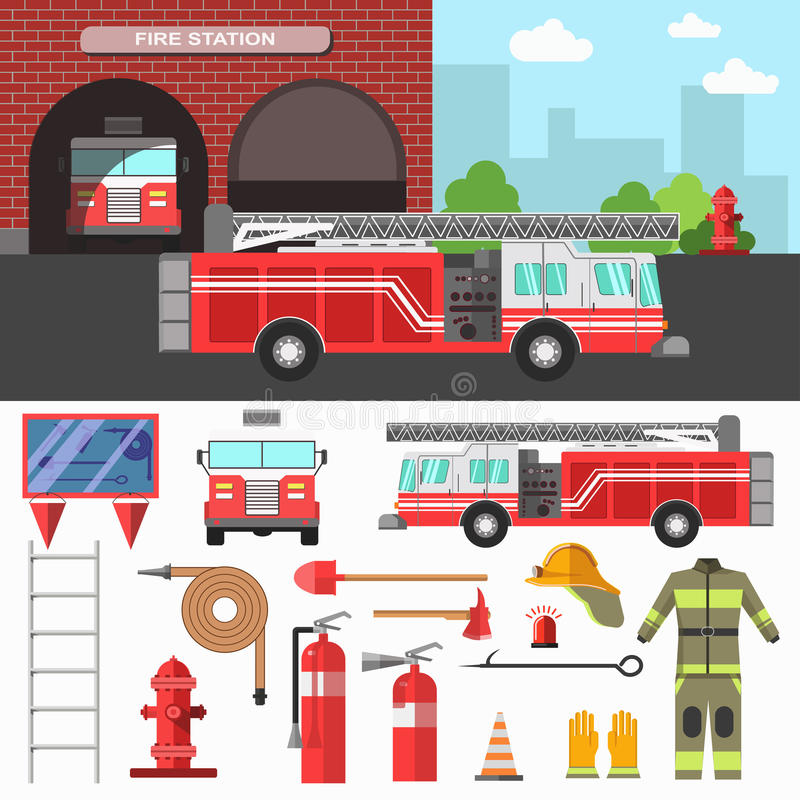 Firefighting department and equipment set. vector illustration