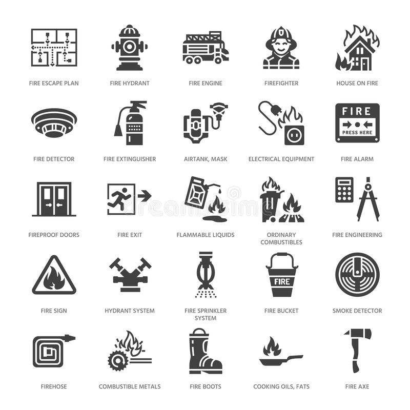Firefighting, fire safety equipment flat glyph icons. Firefighter car, extinguisher, smoke detector, house, danger signs. Firehose. Flame protection pictogram stock illustration