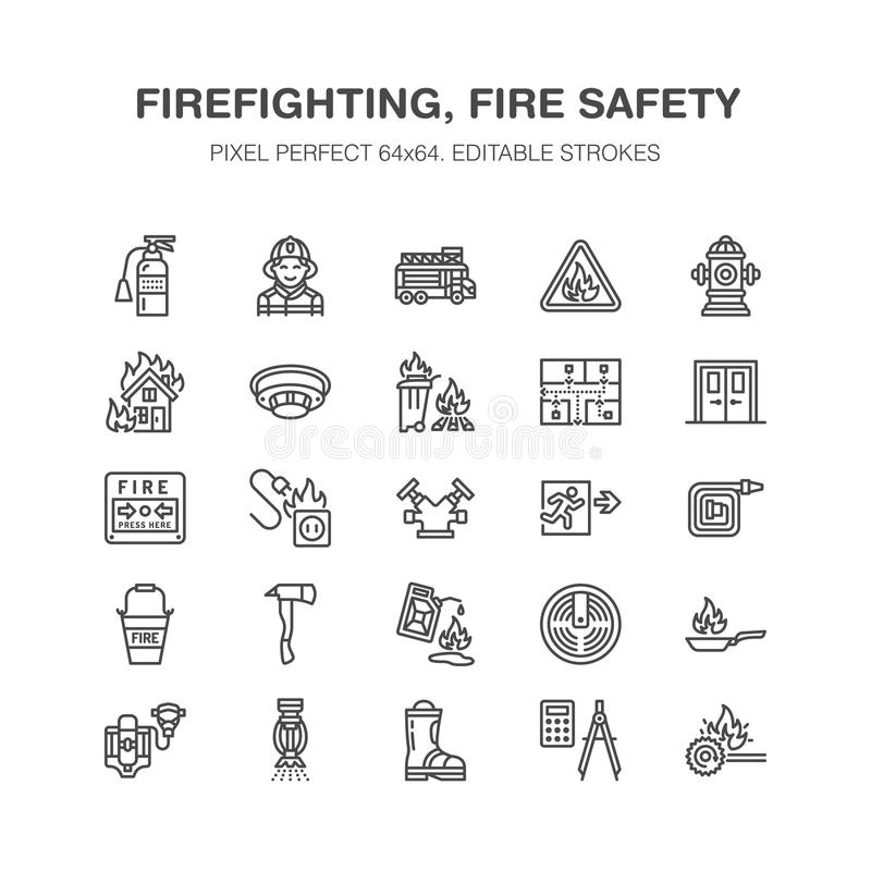 Firefighting, fire safety equipment flat line icons. Firefighter car, extinguisher, smoke detector, house, danger signs. Firehose. Flame protection thin linear vector illustration