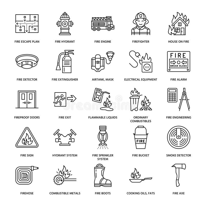 Firefighting, fire safety equipment flat line icons. Firefighter, fire engine extinguisher, smoke detector, house stock illustration