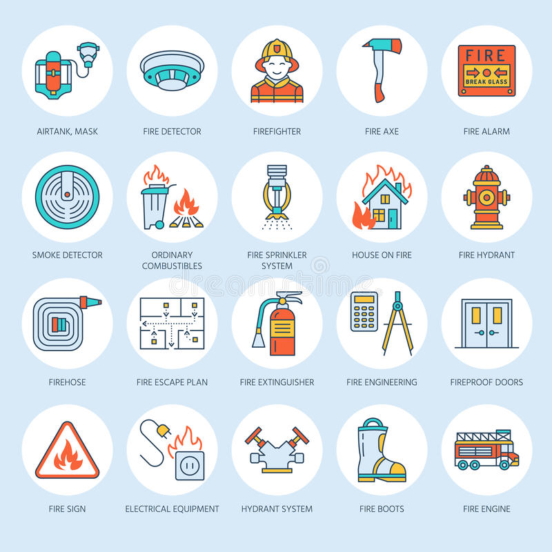 Firefighting, fire safety equipment flat line icons. Firefighter, fire engine extinguisher, smoke detector, house royalty free illustration