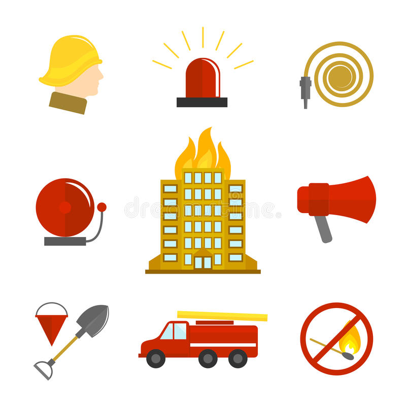 Firefighting icons flat. Set of burning building fire alarm water hose isolated vector illustration stock illustration
