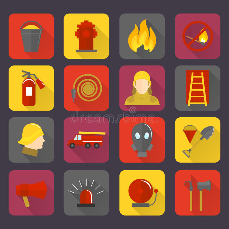 Firefighting icons set. Of flame water hose mask and helmet isolated vector illustration vector illustration