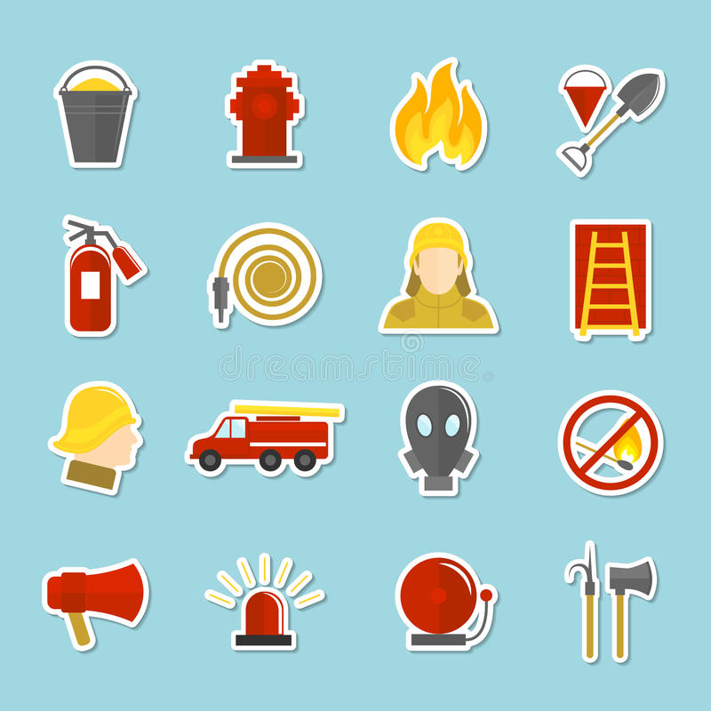 Firefighting icons stickers. Set of axe fire truck water hydrant isolated vector illustration vector illustration