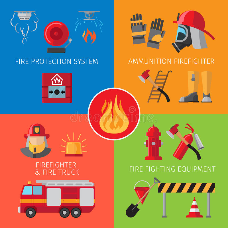 Firefighting inventory concepts. Firefighting inventory and fire rescue concepts. Business and house fire safety vector illustration vector illustration