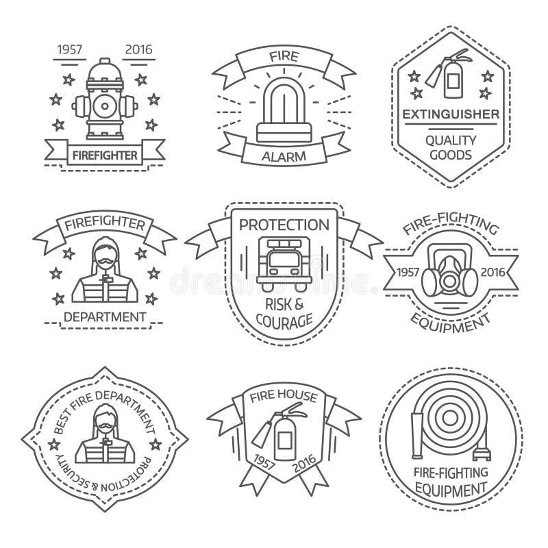 Firefighting Linear Emblems vector illustration