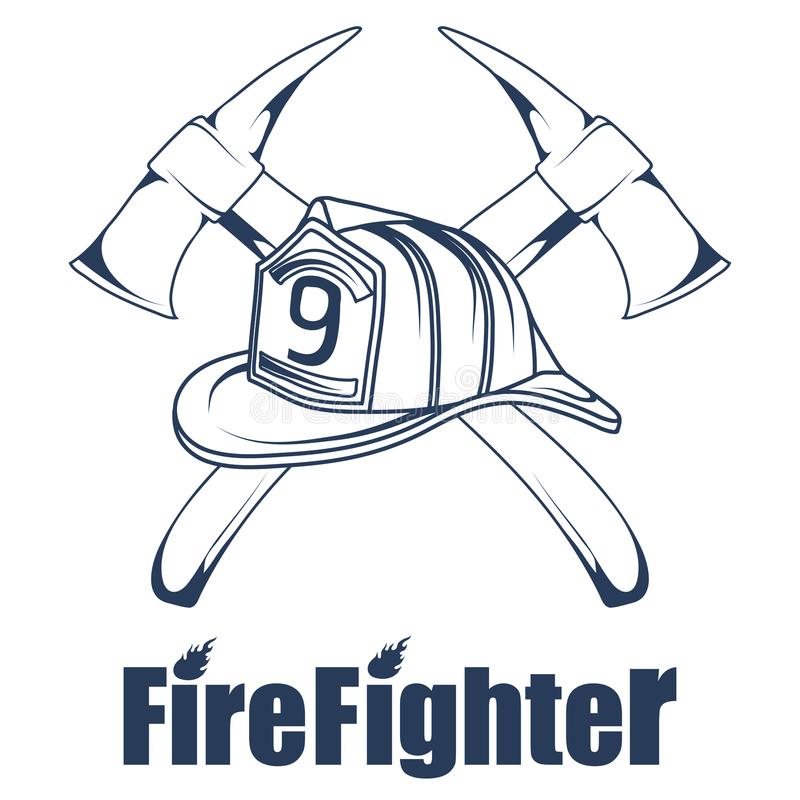 Firefighting logo. The fireman`s head in a mask. Fire department label. Vector graphics to design stock illustration