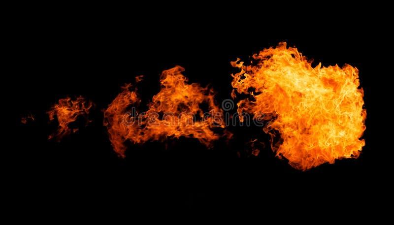 Fireflame isolerade på svart arkivbild
