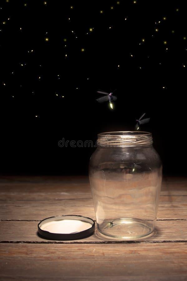 Fireflies em um frasco foto de stock