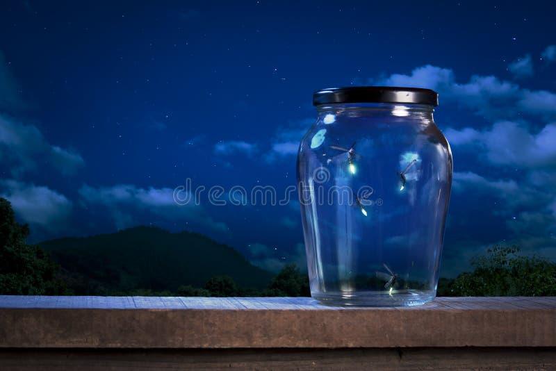 Fireflies em um frasco na noite imagem de stock