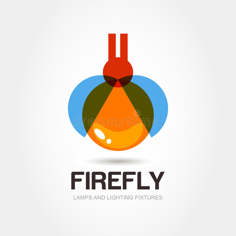 Firefly bug logo design template. Abstract colorful lamp icon. V stock illustration