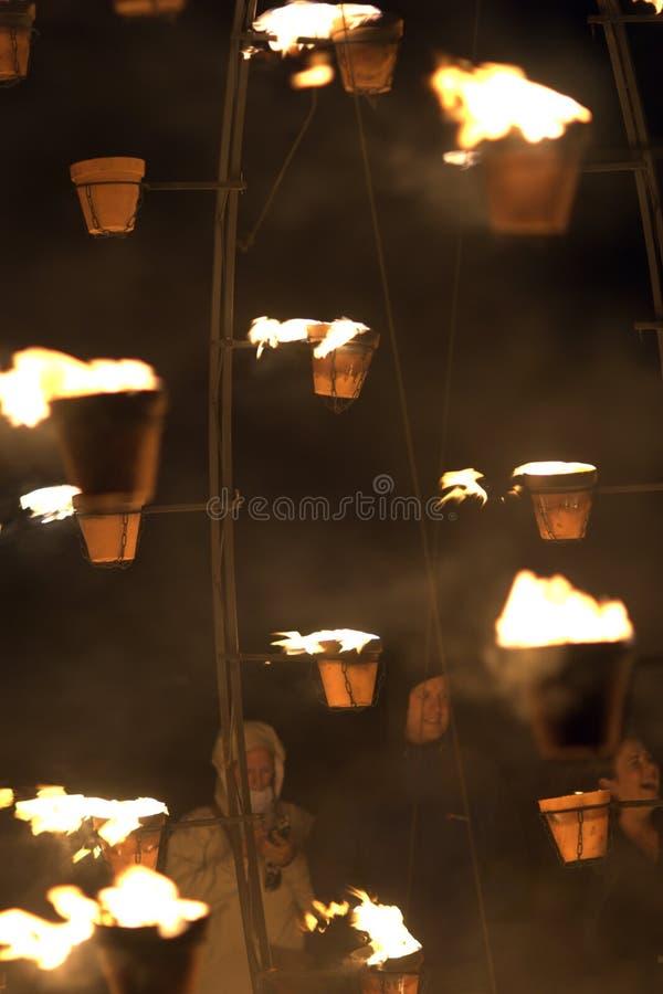 Firegarden chez Stonehenge le 11 juillet 2012 photos stock