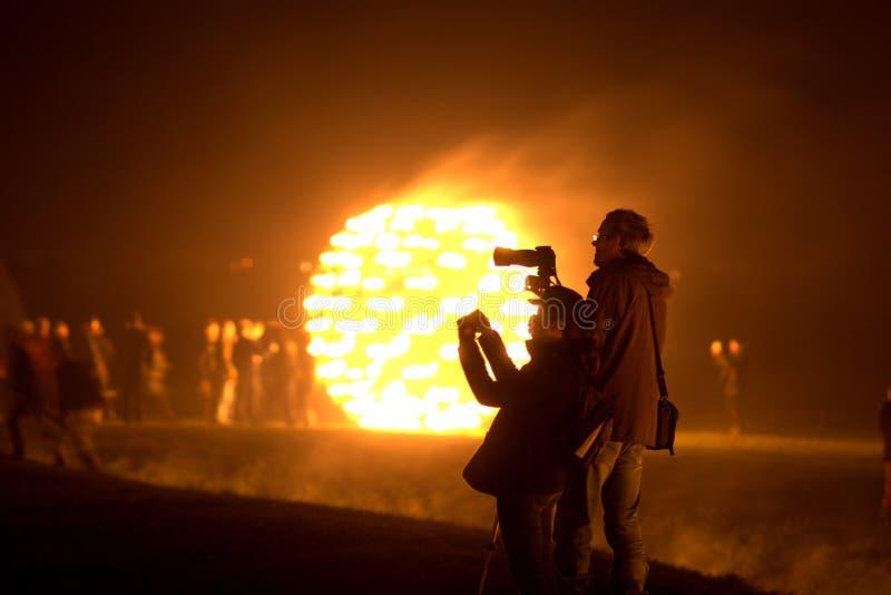 Firegarden chez Stonehenge le 11 juillet 2012 image libre de droits