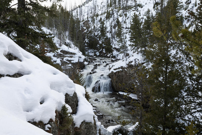 Firehole Fälle, Winter, Yellowstone NP lizenzfreies stockfoto