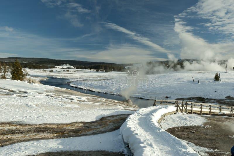 firehole np rzeczna zima Yellowstone obrazy stock