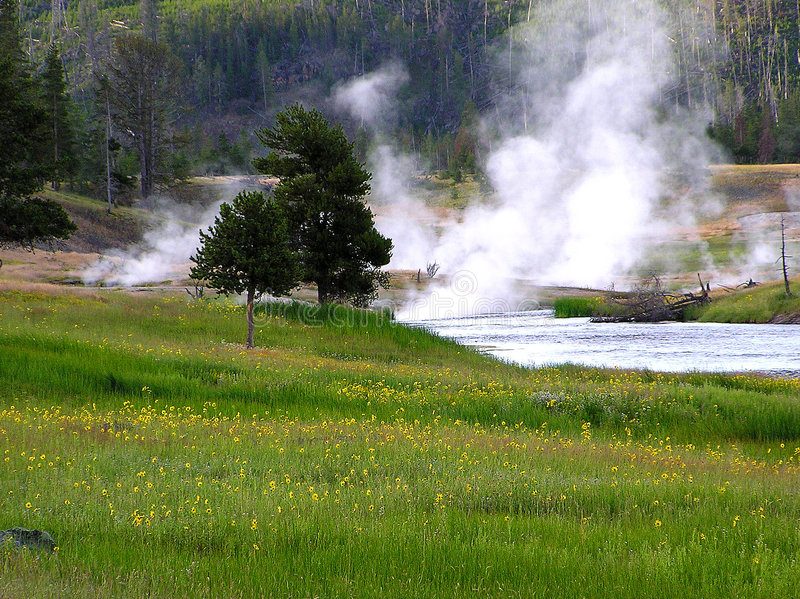 Firehole River, Yellowstone N. P. stock photo