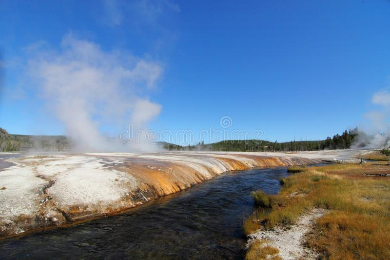 Firehole River in Yellowstone Park. Firehole River in the Biscuit Basin Geyser Basin in Yellowstone National Park stock images