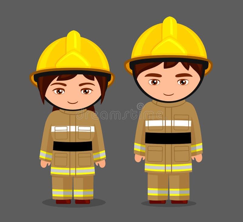fireman Пожарный Маленькая девочка и мальчик в форме бесплатная иллюстрация