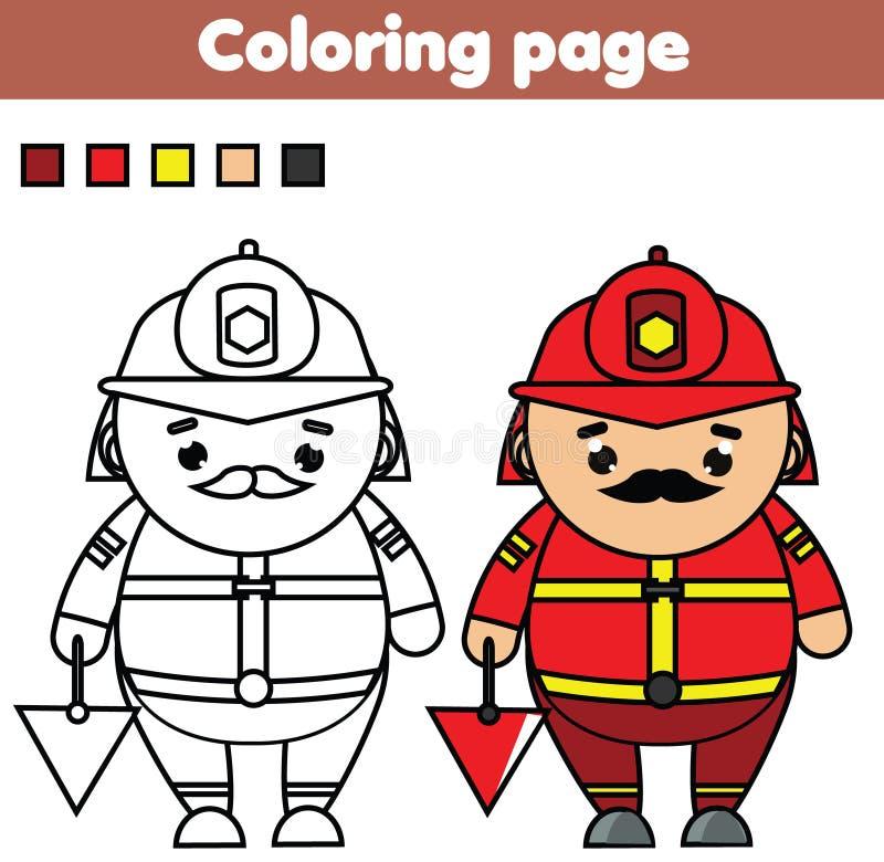 fireman Страница расцветки Воспитательная игра Printable деятельность для малышей и детей иллюстрация штока