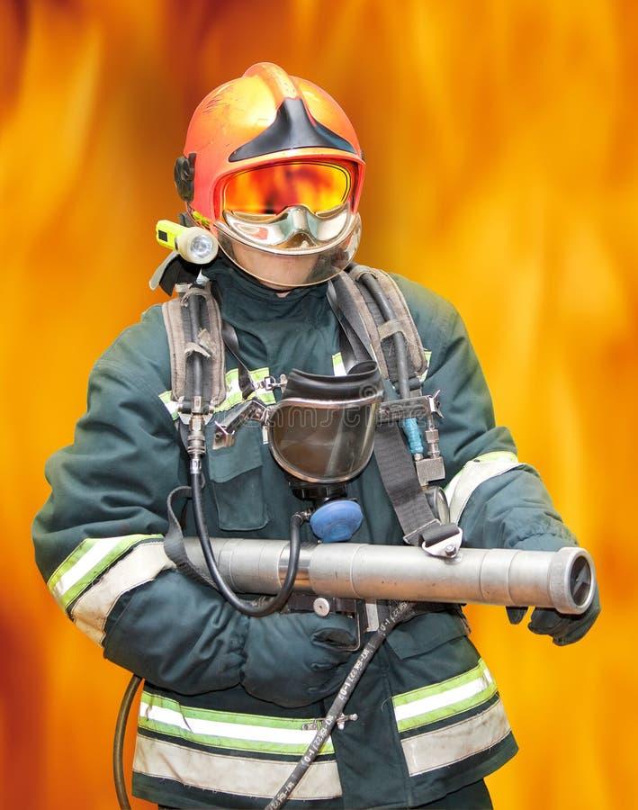 Download The fireman stock image. Image of smoke, dangerous, disaster - 12277099