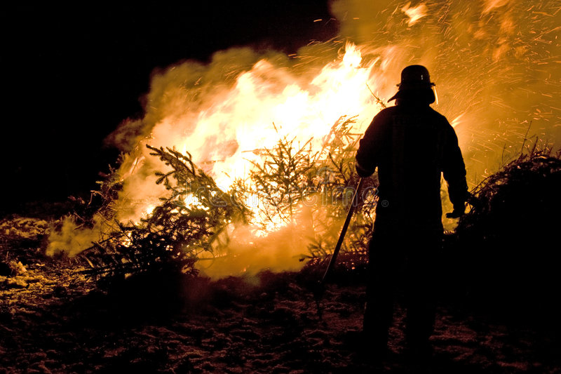 Fireman. Checking burning trees, taken in evening stock photos